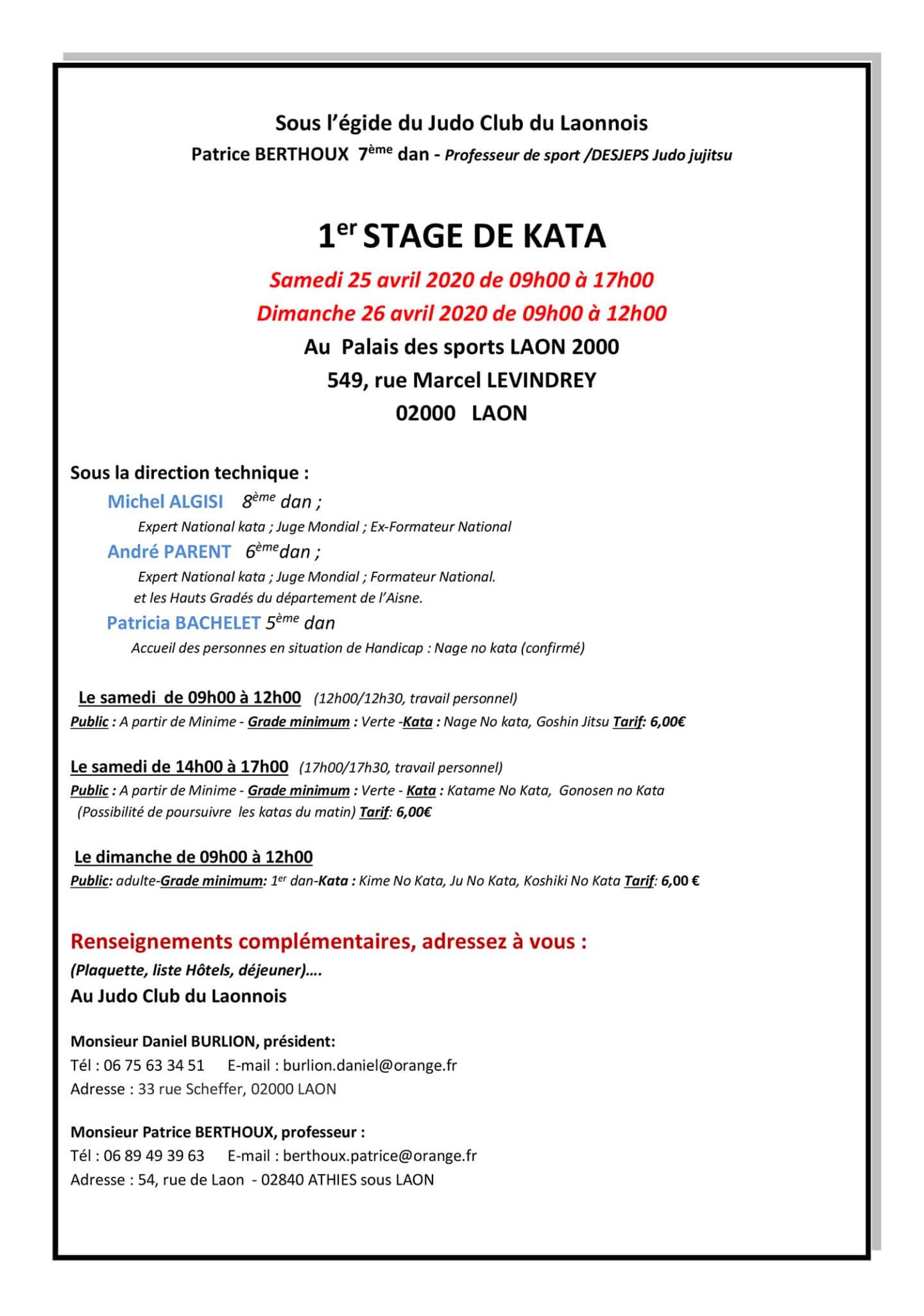 1er Stage Kata JCL les 25 et 26 avril 2020    Tract - Copie