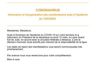 Coronavirus : information et réorganisation