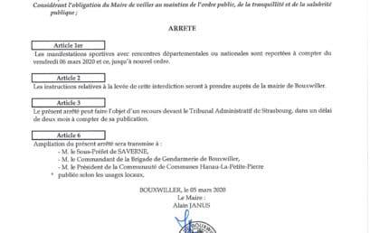 Report des manifestations sportives sur Bouxwiller (67)